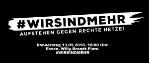 Demo am Donnerstag, 13. 9. 2018. 18:00 Uhr. Willy-Brandt-Platz.